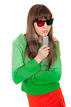 Girl Wearing 3D Glasses Holding Remote Control Royalty Free Stock Photography - Image: 19296007