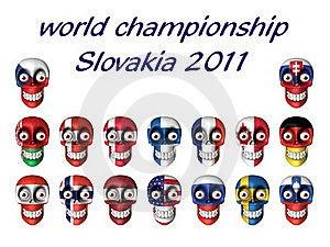 Nationale Symbolen Van Ijshockeyventilators - Wereldchampi Stock Foto's - Afbeelding: 19296133