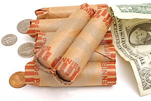 Rolled Pennies & $1 Bill Royalty Free Stock Photos - Image: 1930108