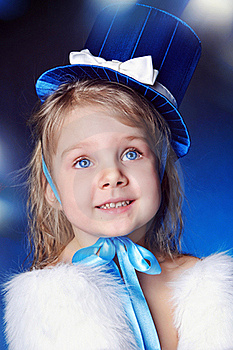 A Fairy-tale Girl Is In Dark Blue Royalty Free Stock Image - Image: 19302236