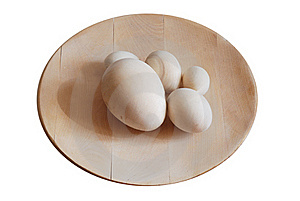 Turned Wooden Blank Eggs On The Dish Royalty Free Stock Photo - Image: 19302535