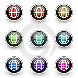 Globe Button Set Royalty Free Stock Images - Image: 19302859
