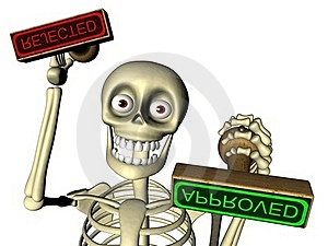 Skeleton Officer Gives Stamp Approved / Rejected Royalty Free Stock Image - Image: 19313836