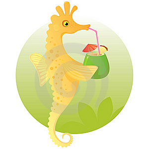 Cute Cartoon Seahorse Enjoying A Cocktail Royalty Free Stock Image - Image: 19317886
