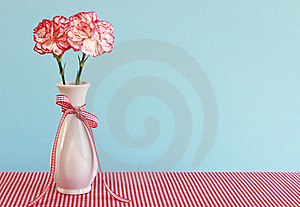 Red And White Carnations In A Vase Royalty Free Stock Photo - Image: 19317905