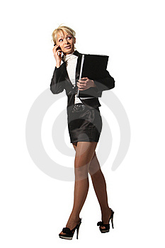 Businesswoman Speak Phone Royalty Free Stock Images - Image: 19319949