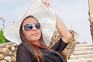 Beautiful Brunette With Hat Stock Images - Image: 19320584