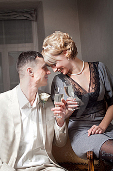 Bride And Groom In Bedroom Royalty Free Stock Photo - Image: 19321325