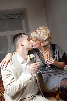 Bride And Groom In Bedroom Royalty Free Stock Image - Image: 19321336