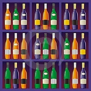 Showcase With Bottles Stock Photography - Image: 19326572