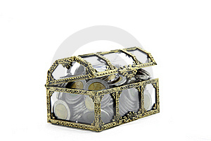 Chest With Wealth Coins Royalty Free Stock Image - Image: 19329916