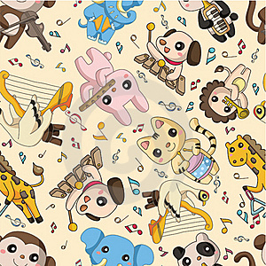 Seamless Animal Play Music Pattern Royalty Free Stock Photo - Image: 19330635