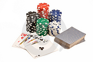 Casino Chips, Deck Of Cards And Pocker Straight. Royalty Free Stock Images - Image: 19331829