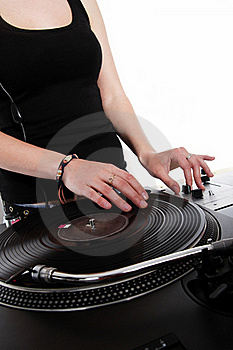 Female Hip-hop DJ Scratching The Record Stock Photography - Image: 19331972