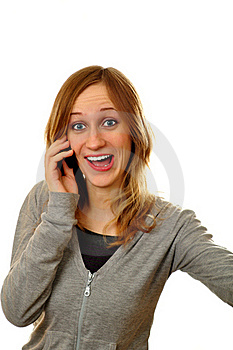 Attractive Woman Expressing Her Amotions On Phone Stock Photography - Image: 19332372