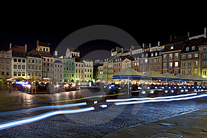 Night Panorama Of Old Town In Warsaw Royalty Free Stock Photos - Image: 19334518