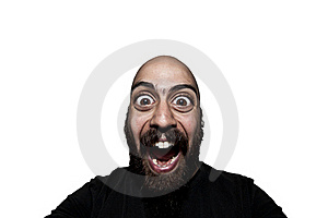Man With Big Eyes That Screams Royalty Free Stock Photo - Image: 19334675