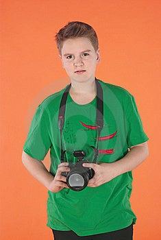 Boy With Photocamera Stock Image - Image: 19335981