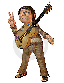 Man With A Guitar And Peace Message Stock Image - Image: 19337531
