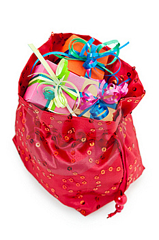Gift Boxes In A Red Bag Stock Images - Image: 19342694