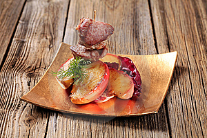 Roasted Meat And Apple Royalty Free Stock Image - Image: 19344436