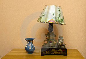 Retro Table Lamp And Vase Royalty Free Stock Photo - Image: 19346135