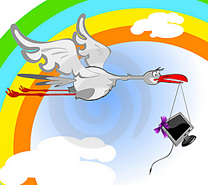 Stork And Monitor Royalty Free Stock Photo - Image: 19348045
