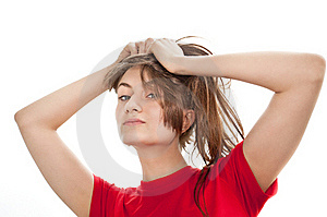 Young Woman Playing With Her hair Stock Photo - Image: 19354240