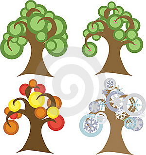 Seasonal Trees Royalty Free Stock Image - Image: 19355646
