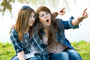 Two Surprised  Young Teens Stock Images - Image: 19358064