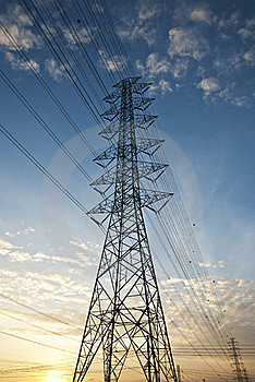 High Voltage Electric Power ,sunset Royalty Free Stock Image - Image: 19359016