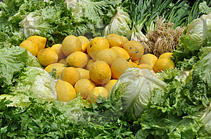 Fresh Lemons And Green Salad Ingredients Stock Photo - Image: 19361240