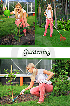 Collage. Beautiful Casual Woman Gardening Royalty Free Stock Photography - Image: 19361717