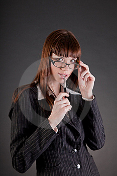 Thoughtful Business Woman Wearing Glasses Royalty Free Stock Photos - Image: 19363788