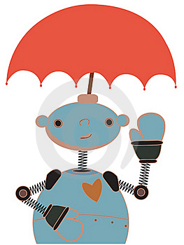 Cute Robot With Umbrella Attached To Head Waving Royalty Free Stock Image - Image: 19364526