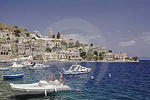 View Of Symi Harbor Royalty Free Stock Image - Image: 19367696