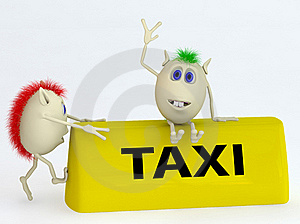 3d  Model Of The Taxi Symbol With Puppets Stock Image - Image: 19372021