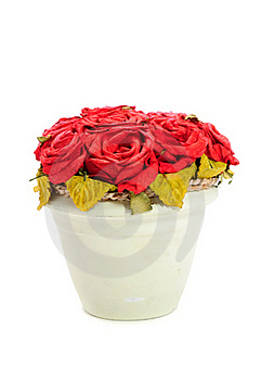 Artificial Red Rose Flowers In Pot Royalty Free Stock Image - Image: 19372486