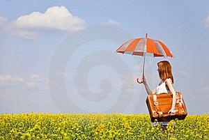 Redhead Enchantress With Umbrella Stock Photography - Image: 19373942