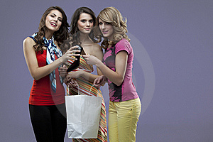 Young Women Smiling High Heels Shopping Royalty Free Stock Image - Image: 19374766