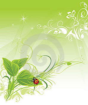 Sprig With Ladybird On The Decorative Background Royalty Free Stock Photos - Image: 19378988