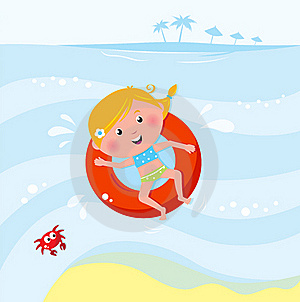 逗人喜爱的女孩海运微笑的游泳 库存图片 - 图片: 19381654