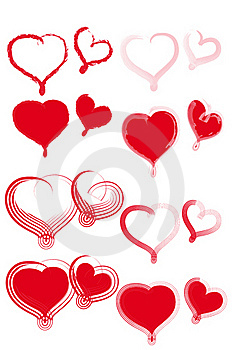 Various Types Of Red Hearts. Royalty Free Stock Images - Image: 19381999