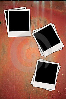 Three Blank Photos On Metal Background Royalty Free Stock Photo - Image: 19384565