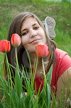 Young Girl And Tulips Stock Images - Image: 19389364