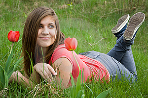Young Girl And Tulips Stock Photography - Image: 19389382