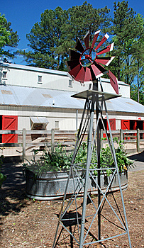 Windmill, Raised Bed, Barn Royalty Free Stock Images - Image: 19389559