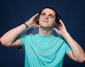 Man With Headphones Stock Image - Image: 19390321