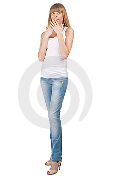 Excited Young Woman Covering Her Mouth Royalty Free Stock Photos - Image: 19391708