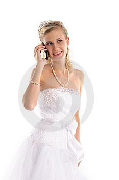 Happy Bride With Mobile Phone Royalty Free Stock Image - Image: 19392616
